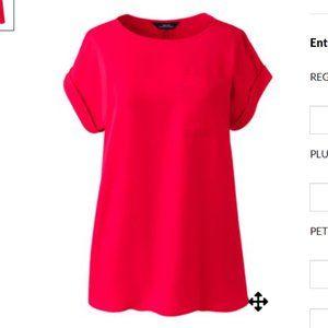 Lands' End Business one-pocket crepe blouse